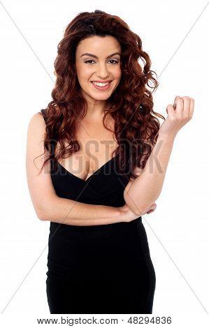 Sexy Brunette Posing In Black Party Wear Attire