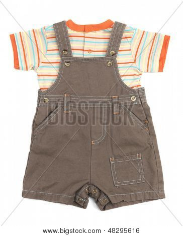 Baby-Overall und ein Shirt Kleider, isolated on white background