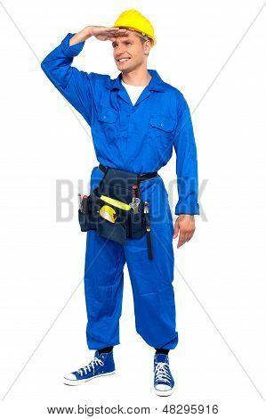 Repairman Looking Forward Shielding Hand