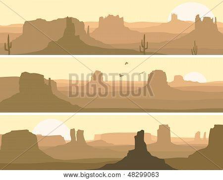 Abstract Horizontal Banner Of Prairie Wild West.