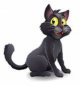 An illustration of a cute happy cartoon Halloween black witches cat character poster