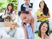 Collage of cheerful women using their cell phone poster