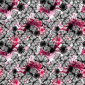 Doodle seamless flower ink pattern-model for design of gift packs, patterns fabric, wallpaper, web sites, etc. poster