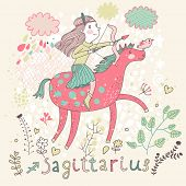 Cute zodiac sign - Sagittarius. Vector illustration. Little girl riding on pink horse and shooting arrows. Background with flowers and clouds. Doodle hand-drawn style poster