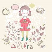 Cute zodiac sign - Libra. Vector illustration. Little girl riding on pink horse and shooting arrows. Background with flowers and clouds. Doodle hand-drawn style poster