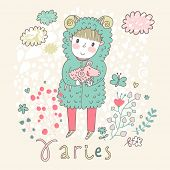 Cute zodiac sign - Aries. Vector illustration. Little boy riding with small ram. Background with flowers and clouds. Doodle hand-drawn style poster