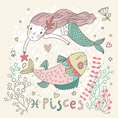 Cute zodiac sign - Pisces. Vector illustration. Little mermaid swimming with big fish with flowers and water plants. Doodle hand-drawn style poster