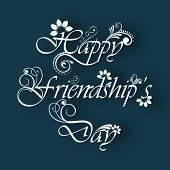 Floral decorated text Happy Friendship Day on abstract blue background. poster