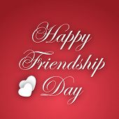 Happy Friendship Day text on abstract red background. poster