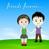 Happy friendship day concept with little boy and girl holding hands. poster
