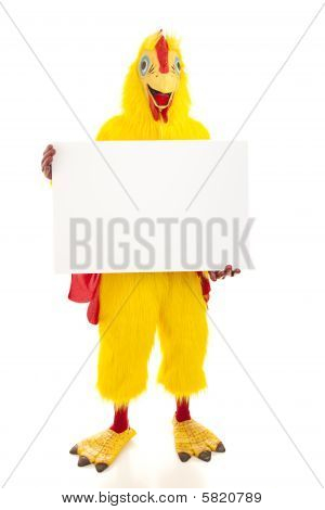 Chicken Man Holds Blank Sign