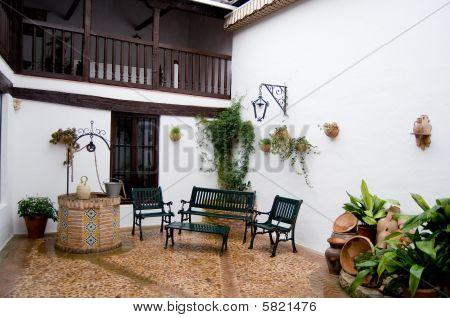 Typical Patio From Castilla La Mancha House. Posada In Toledo, Spain