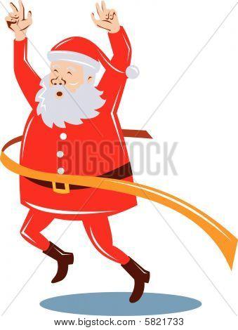 Course de Santa claus et franchissant la ligne d'arrivée