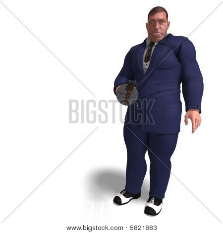 3D rendering of a bad mafia gun man with clipping path and shadow over white poster