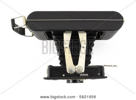 Top view of an antique 620 medium format film folding camera