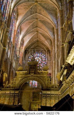 Choir In Santa Maria De Leon Cathedral In Leon. Spain