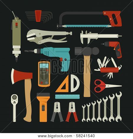 Hand Tools Icon Set , Flat Design