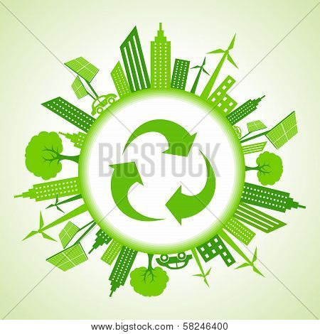 Eco cityscape around a recycle icon