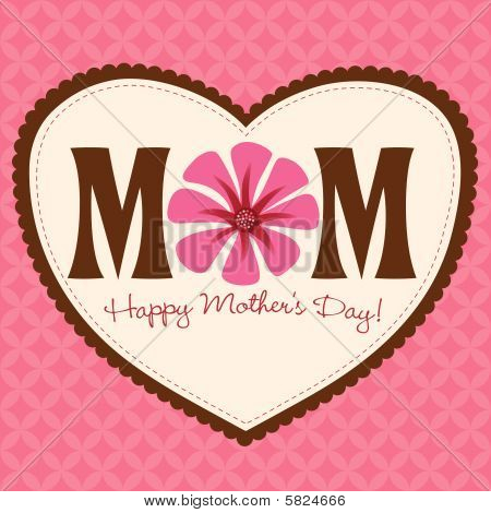 Happy Mother's Day Card with flower and heart poster
