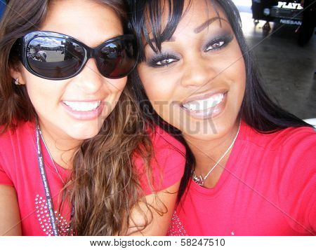 Amber Campisi and Qiana Chase at the Inaugural XM Satellite Radio Speedjam, Homestead-Miami Speedway, Homestead, Fla. 03-24-07