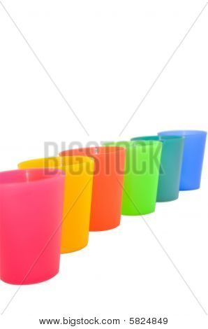 Array Of Colorful Plastic Cups