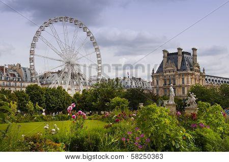 Jardin De Tuileries In Paris City