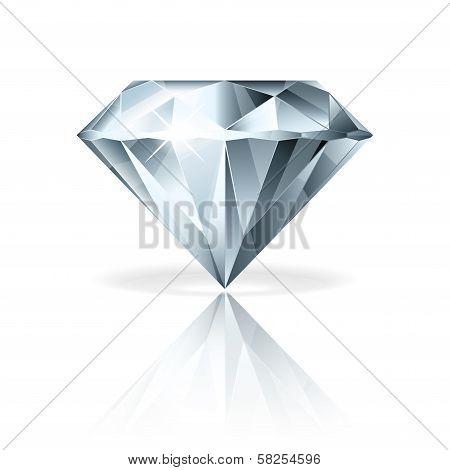 Diamond Isolated On White Vector Illustration