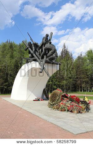 MOSCOW, RUSSIA, CIRCA 2013 - The monument in memory of russian engineer service soldiers