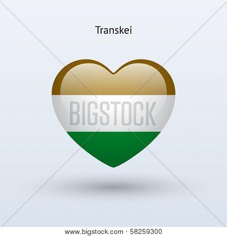 Love Transkei symbol. Heart flag icon.
