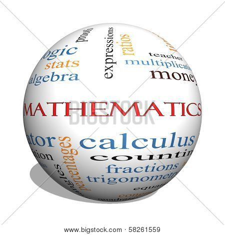 Mathematics 3D Sphere Word Cloud Concept