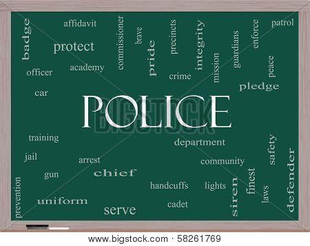 Police Word Cloud Concept On A Blackboard