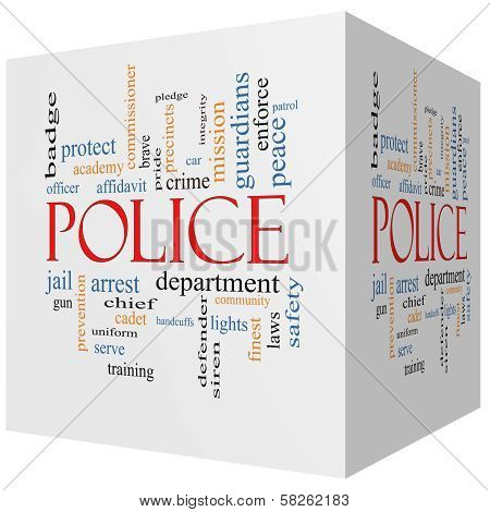 Police 3D Cube Word Cloud Concept