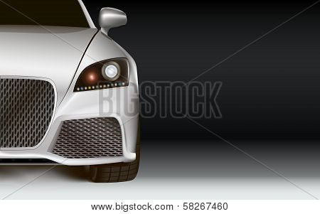 Modern Car. Dark Background With Copy Space
