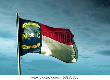 North Carolina (USA) flag waving on the wind