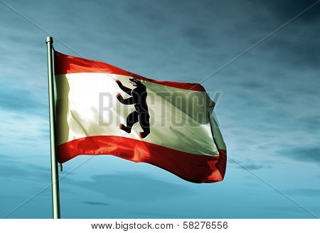 Berlin flag waving in the evening