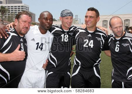 Steve Jones, Jimmy Jean-Louis, Frank Leboeuf, Vinnie Jones and Jason Statham at the Soccer for Survivors Celebrity Showcase Match. Beverly Hills High School, Beverly Hills, CA. 07-22-07