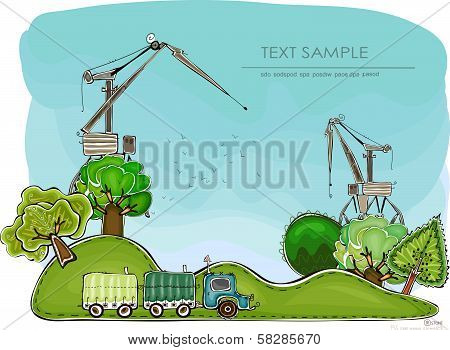 Building site getting expand illustration, Happy world collection