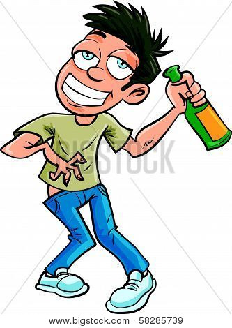 Cartoon drunk man with champagne bottle