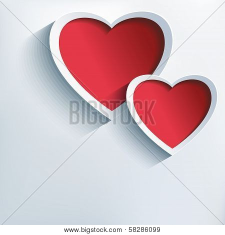 Valentines Day Background With Two 3D Hearts