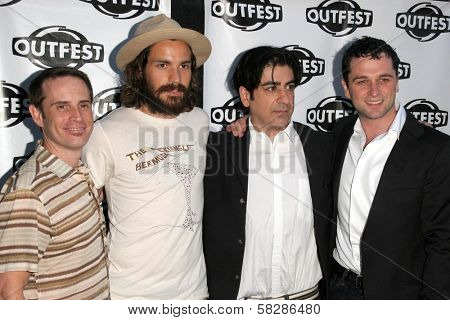 Stephen Gutwillig and Santiago Cabrera with Alek Keshishian and Matthew Rhys at the screening of