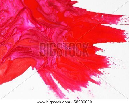 Pink and red nail polish drops