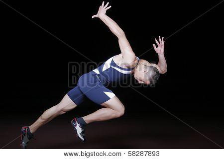 athlete on start