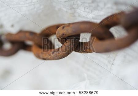 Abstract Metal Thick Chain. Old And Rusty. Slavery Metaphor