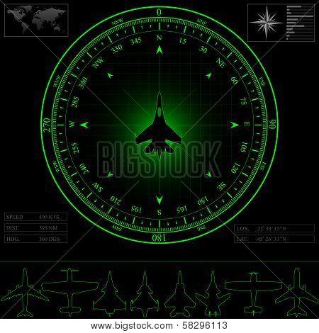 Radar screen with compass