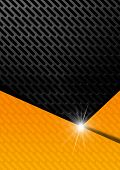 Orange black and gray abstract background with metallic grid poster