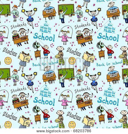 Seamless pattern with kids
