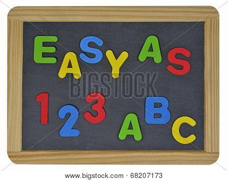 Easy as 123 ABC written on traditional school slate