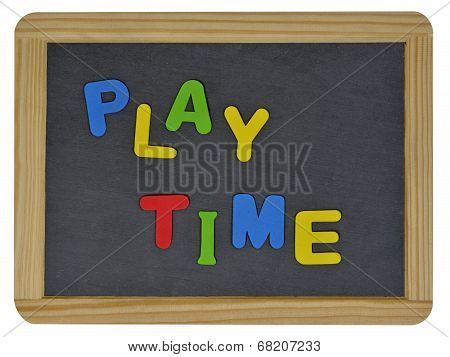 Play time written on traditional school slate