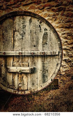 Wooden Barrel For Wine On The Farm