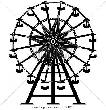 Ferris wheel in silhouette